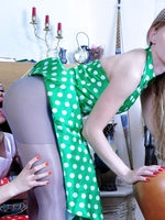 Lesbo babes in vintage polka-dot dresses lick sleek pantyhose clad pussies