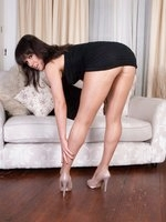 Lucy strips n teases in shiny nude pantyhose!