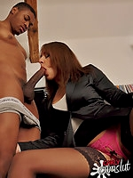 Carly interviews a young black stud for her next shoot and ends up fucking him.