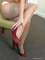 A private session with Charlie where you can enjoy her legs encased in soft sheen silky hose and sexy pointed high heel shoes
