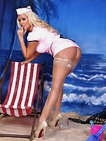 Last days of her beach holiday and Lucy Zara is on the beach dressed as a hot waitress