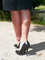Michelle high heels and pantyhose