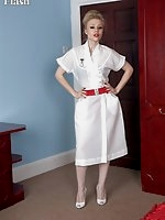 Nurse Michelle in white ff nylons attending to the patient's every need
