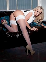 Lucy Zara was posing in white stockings
