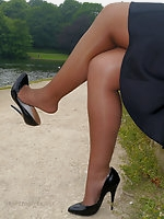 Lovely Karen  in her silky nylons and her black high heel shoes
