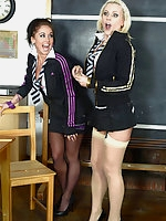 Billie Evans, Mercedes Marston, Miss Cox in stockings and uniform