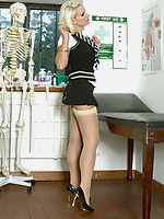 Billie Evans in stockings and uniform