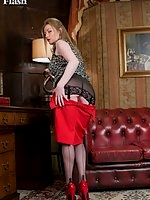 Holly vintage black nylons and her open bottom girdle
