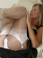 Jayde thrills in white nylons and panties