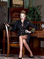 Danielle Maye as a female superior officer wearing full fashion nylons